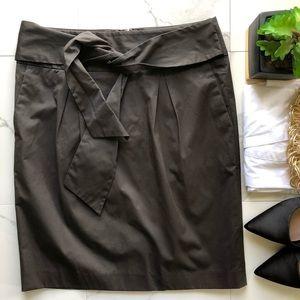 Banana Republic Dark Brown Tie Pencil Skirt